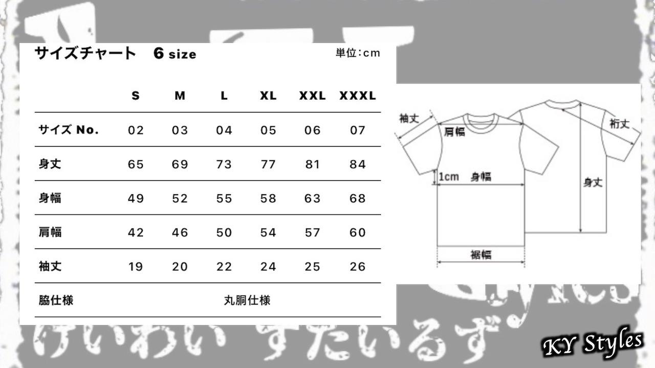 Tシャツサイズ表
